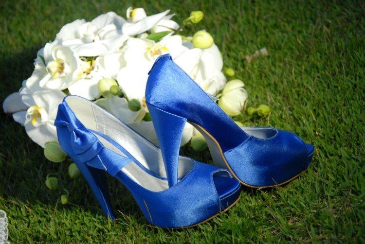 Azul royal sapato noiva