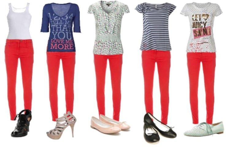 como vestir calça vermelha, moda, tendência  outono 2011