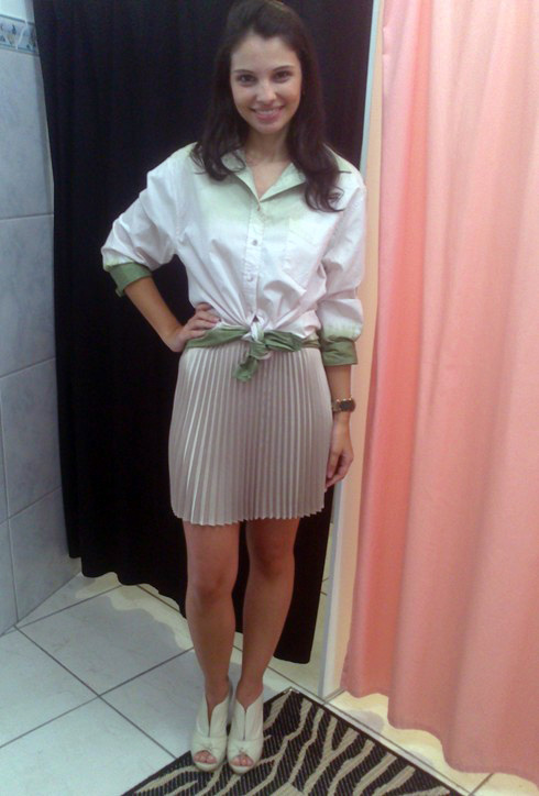 Look_Saia Plissada_Camisa_Loja Aglaia