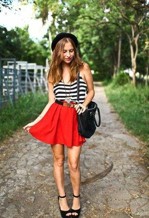 listras-look-stripes-red-skirt-saia-vermelha